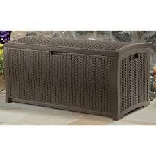 suncast gallon mocha wicker resin deck box outdoor patio patio chair cushion storage bags patio furniture