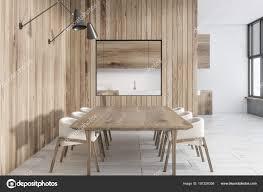 Intérieur Du Mur En Bois Salle à Manger Avec Une Table En Bois, Loft  Windows Et Deux Rangées De Fauteuils Moelleux. Rendu 3D Maquetteu2013 Images De  Stock ...