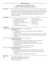 Example Modern Resume Senior Accountant Resume Skills Payroll Specialist Example Amazing
