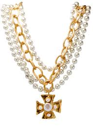 susan shaw neclaces susan shaw multi strand pearl and cross necklace