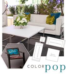 add a little brand personalization to your event with color dress up the classic mykonos coffee table and santorini sofa with bright pillows and complete