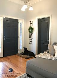 interior front door painted sherwin williams iron ore kylie m e design red oak flooring agreeable gray paint colour white trim