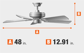 room size ceiling fan dimensions fan blade span and height