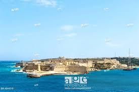 stock photo meval fortress walls views of fort rikazoli in kalkara from valletta malta