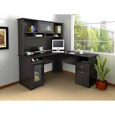 office desk l. Exellent Desk Black Wooden L Shaped Desk With Drawers Also Shelves Combined Glass  Door Placed On The To Office Desk L