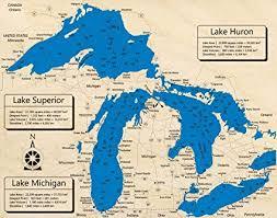Lake Superior Depth Chart Amazon Com Lake Superior W Lake Michigan And Lake Huron