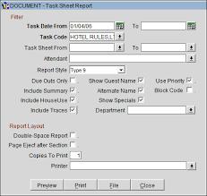 Attendant Sheet Printing Task Sheets