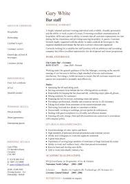 Bar staff CV sample