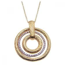 closeout whole sterling silver 925 gold plated clear cz triple circle pendant necklace stp00923
