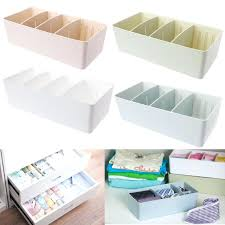clothing drawer organizer 4 cells plastic organizer storage box tie bra underwear socks drawer divider separated