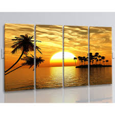 Living Room Art Paintings Oversized Sunset Glow Palm Tree Wall Art Painting Living Room Four
