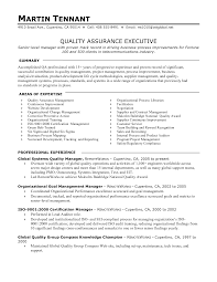 Ideas Collection Quality Assurance Manager Resume Sample About For