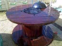 upcycled wooden cable spools fire pit