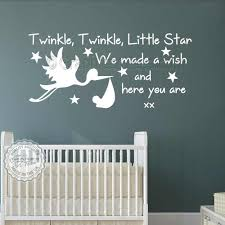 baby boys girls nursery bedroom wall stickers twinkle twinkle little star wall stickers quote decor decals with stork on cute nursery wall art with baby boys girls nursery bedroom wall stickers twinkle twinkle little