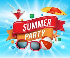 summer party clipart.  Summer Affiche Summer Party Avec Lments Colors Et Un Texte Dans Ruban  Fond Bleu Throughout Clipart 123RFcom