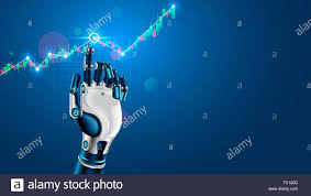 Forex Chart App Robot Or Cyborg Hand Taps Finger On Chart Of Trading Data Of