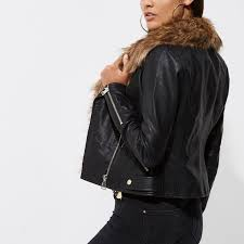 river island women river island faux fur collar biker jacket black