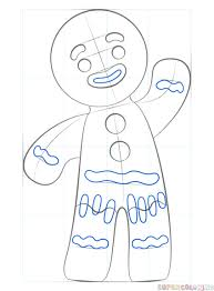 how to draw a gingerbread man step by step drawing tutorials for kids and beginners