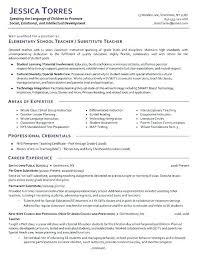 Resume Format For School Teacher Substitute Example Nursery