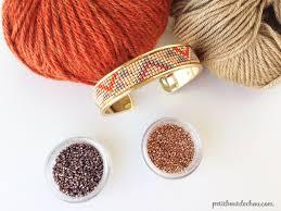 autumn colours bead loom cuff bracelet