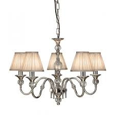 interiors 1900 polina nickel 5 light pendant beige shades 40w 63580