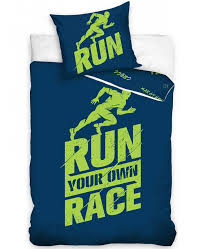 runners single cotton duvet cover set blue and green