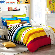 striped bedding set rainbow color stripes boys bedding set for single double mattress sets free striped bedding set