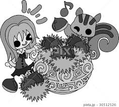 秋と女の子の可愛いイラスト 栗の収穫 のイラスト素材 30512526 Pixta