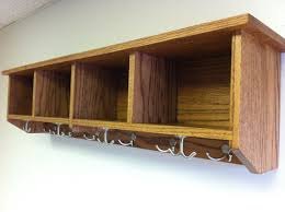 Solid Oak Coat Rack Ready to Ship Entryway Shelf with Cubbies and Coat Hooks 78