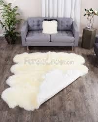 8 pelt eggshell white sheepskin fur rug octo