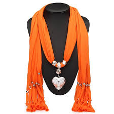 heart pendant scarf necklace