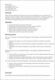 Resume Templates: Building Maintenance Engineer