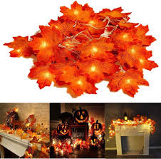 Fall Garlands With Lights Thanksgiving Decorations Lighted Fall Garland 30 Led Maple Leaf String Lights Battery Powered Harvest Fall Garlands String Light Perfect Decoration