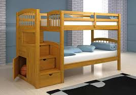Bedroom:Standard Wood Bunk Bed Idea For Common Boys Bedroom With White Twin  Mattresses Modern
