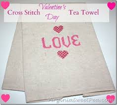 cross stitched valentine s day tea towel sweet pea