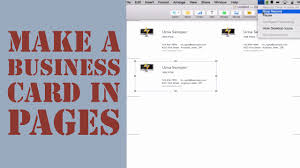 How To Create A Business Card In Pages For Mac 2014 Youtube