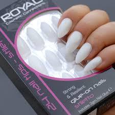 Royal Bílé Matné Umělé Nehty S Lepidlem Stiletto Glue On False Nails Tips 24ks S Lepidlem 3g