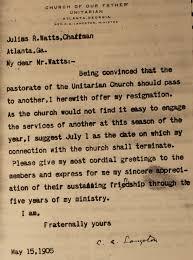 unitarian church of atlanta letter rev c a c a langston resignation letter from the unitarian church of atlanta using old letterhead