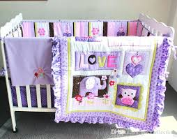 girl owl crib bedding set purple animals girls baby crib bedding set embroidered owl elephant bird