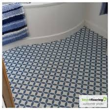 blue tile effect sheet vinyl flooring in bathroom customer photo kensington palace collection