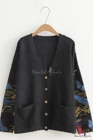 <b>Womens</b> Long Sleeve V Neck Single-Breasted Letter Butterfly <b>Leaf</b> ...