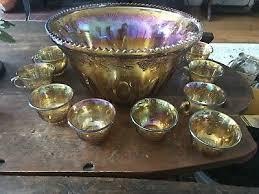 vintage carnival glass punch bowl set harvest g leaf 72 33