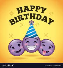 Happy Birthday Card Smile Emoji Purple Faces Vector Image