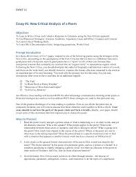 ewrt c essay  ewrt 1c essay 1 new critical analysis of a poem objectives to lean to