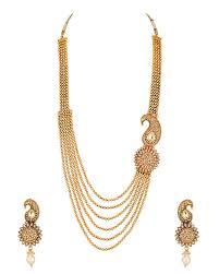 designer necklace sets set with flower design one side