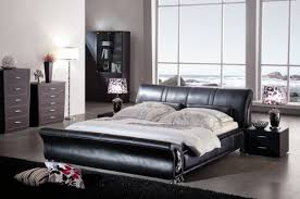 contemporary leather bedroom furniture. Charming Contemporary Bedroom With Twin Night Lamps On Nightstands Of Black Furniture Furnished Queen Leather