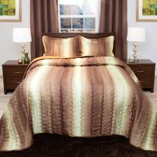 lavish home striped 3 piece chocolate and taupe metallic queen comforter set