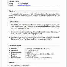 Skill Resume Format Magnificent Resume Resume Formats For Freshers Download Resume Format For Bba
