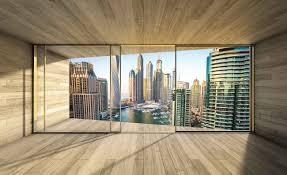 Der schwerpunkt moderner fototapeten liegt definitiv im bereich vliestapeten. Fototapete Tapete Fenster Stadt Dubai City Skyline Marina Bei Europosters Kostenloser Versand