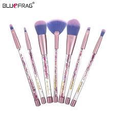 bluefrag 7pcs makeup brushes set transpa colorful handles super soft hair makeup tools eyebrow eyeliner powder